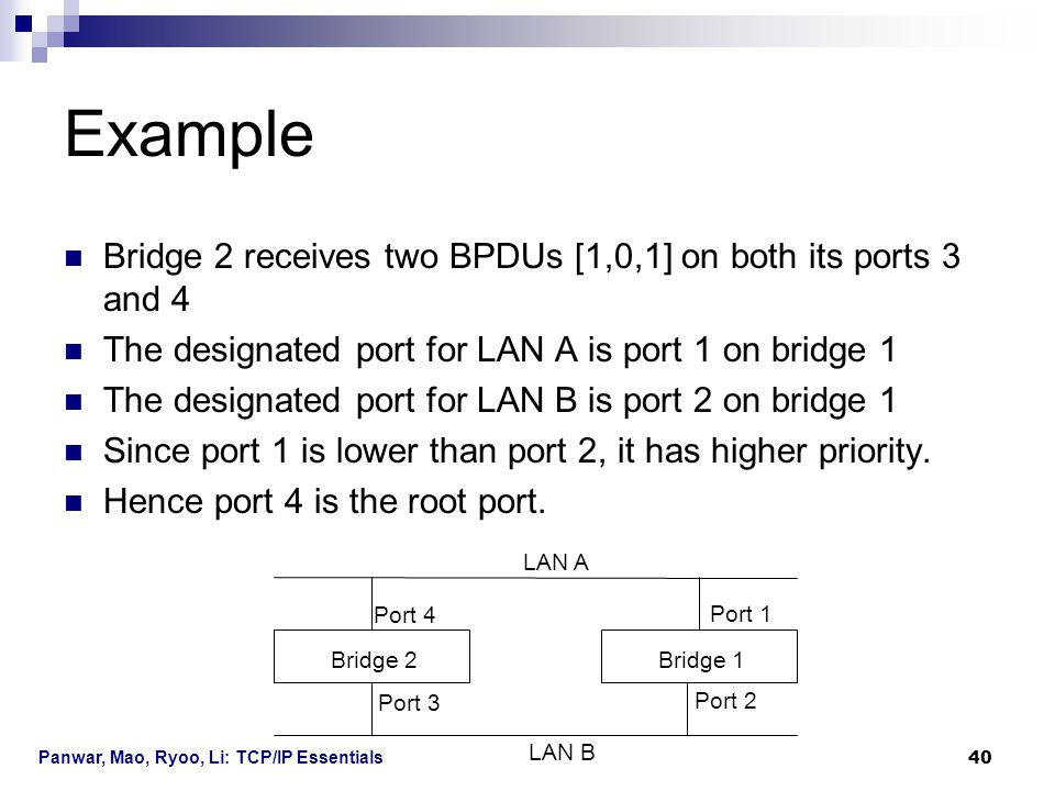 Example Bridge 2 receives two BPDUs [1,0,1] on both its ports 3 and 4
